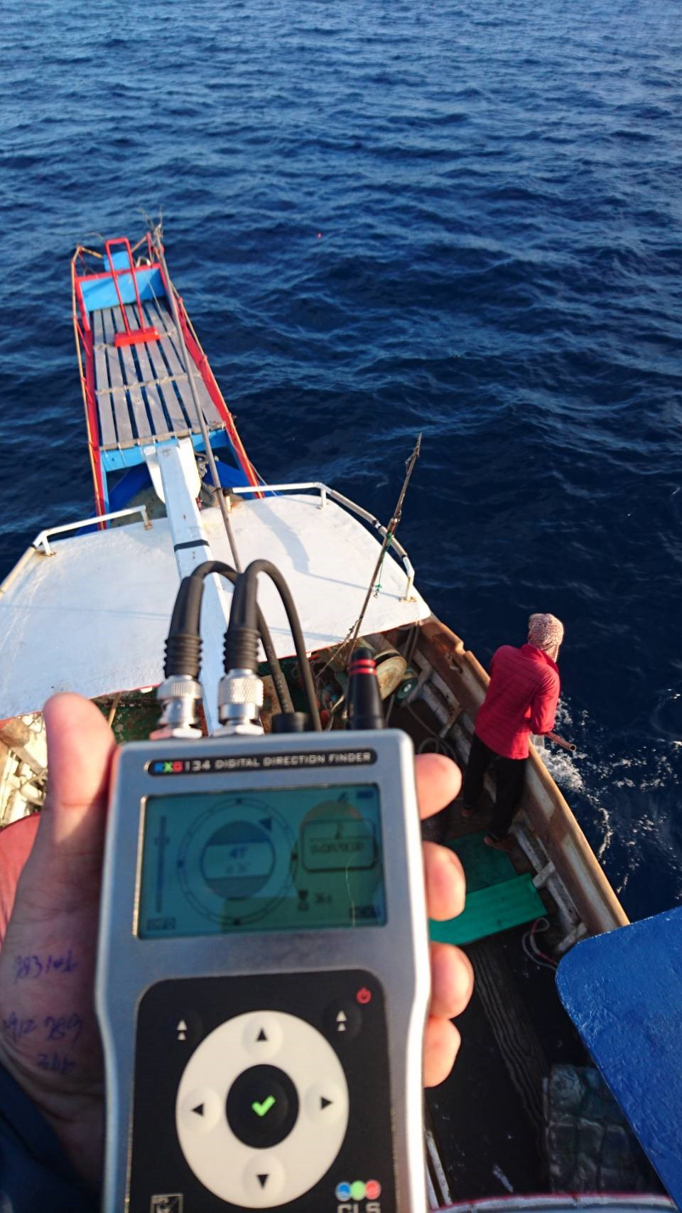 The goniometer screen, having found the tag signal. Credits Tuna and Billfish Tagging Project in Taiwan