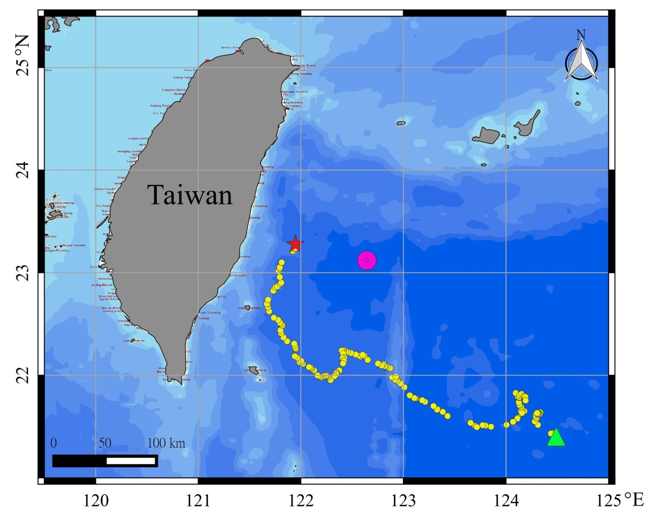 Map of tagging area (red star), pop-up area (green triangle), path of the tag once detached and floating (yellow circle), recovering area (pink circle) of the tag on a bigeye tuna. Credits Tuna and Billfish Tagging Project in Taiwan