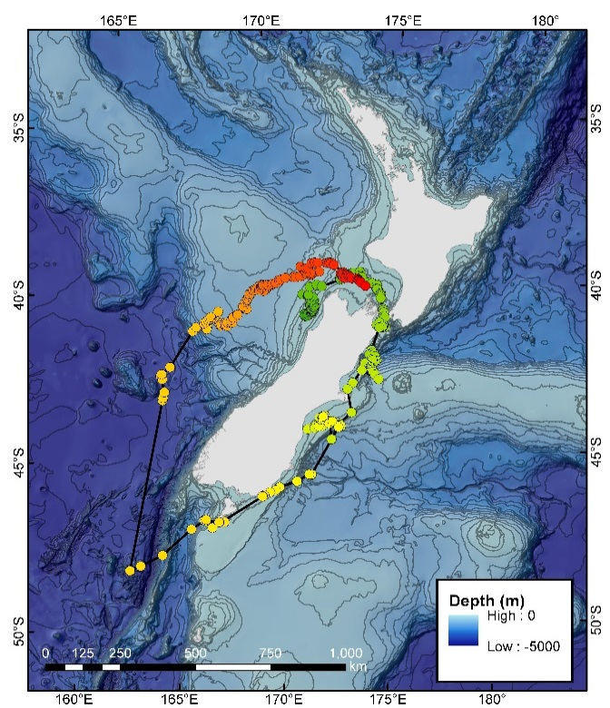 Tracking data from a satellite tracked blue whale. The green to red gradient reflects the start (green) and end (red) of the track. Note that tag transmissions have not been received from Argos transmitter from transmitter 46657 (sex unconfirmed) since 27 March 2018