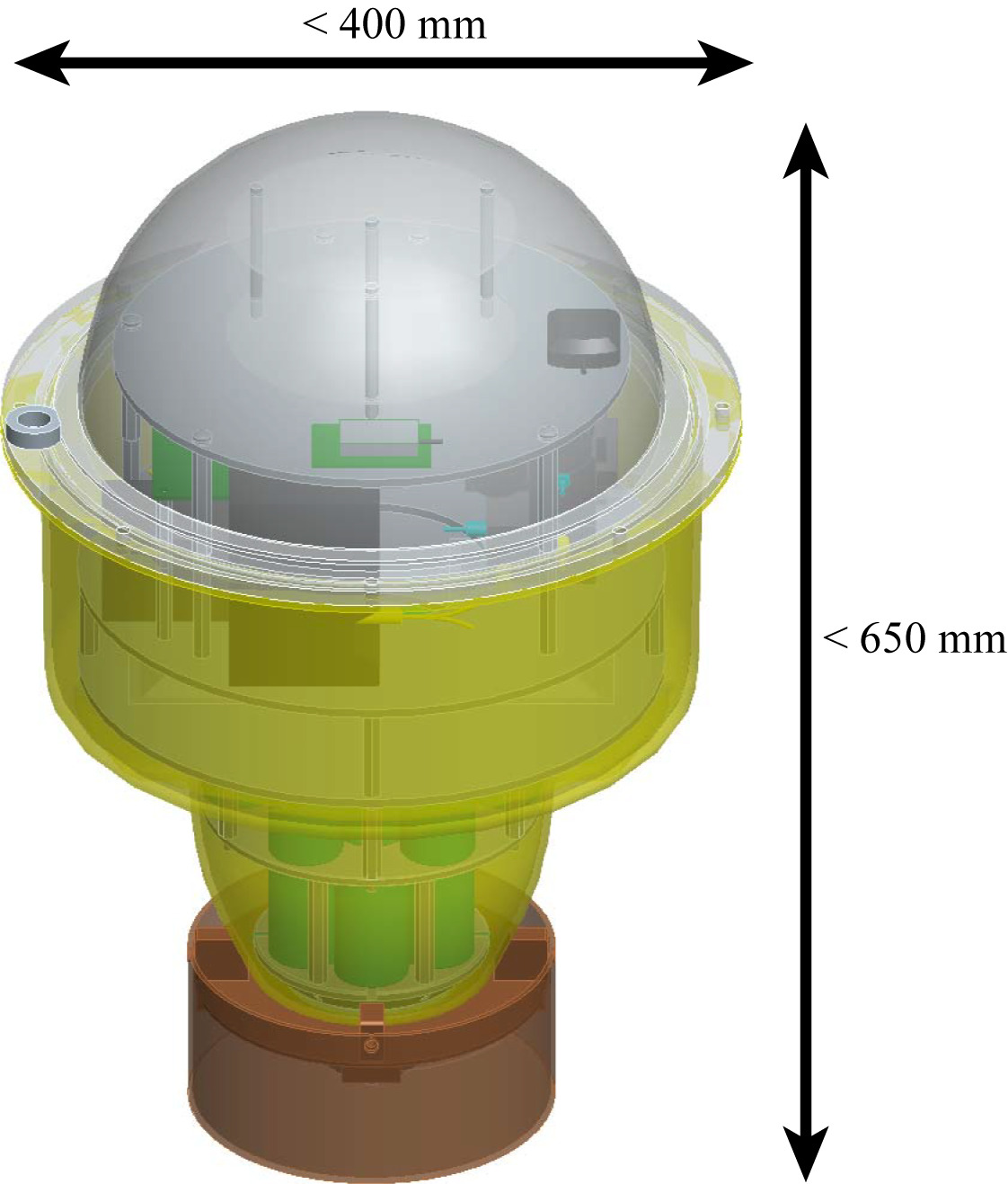 The buoy is 315 mm in diameter and 566 mm high with a weight of ~10 kg (credits JAMSTEC)