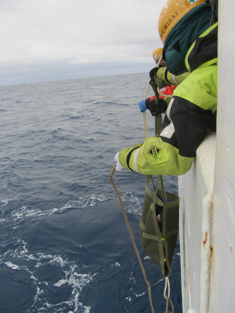 Deployment of a drifting buoy from the R/V Mirai (credits JAMSTEC)