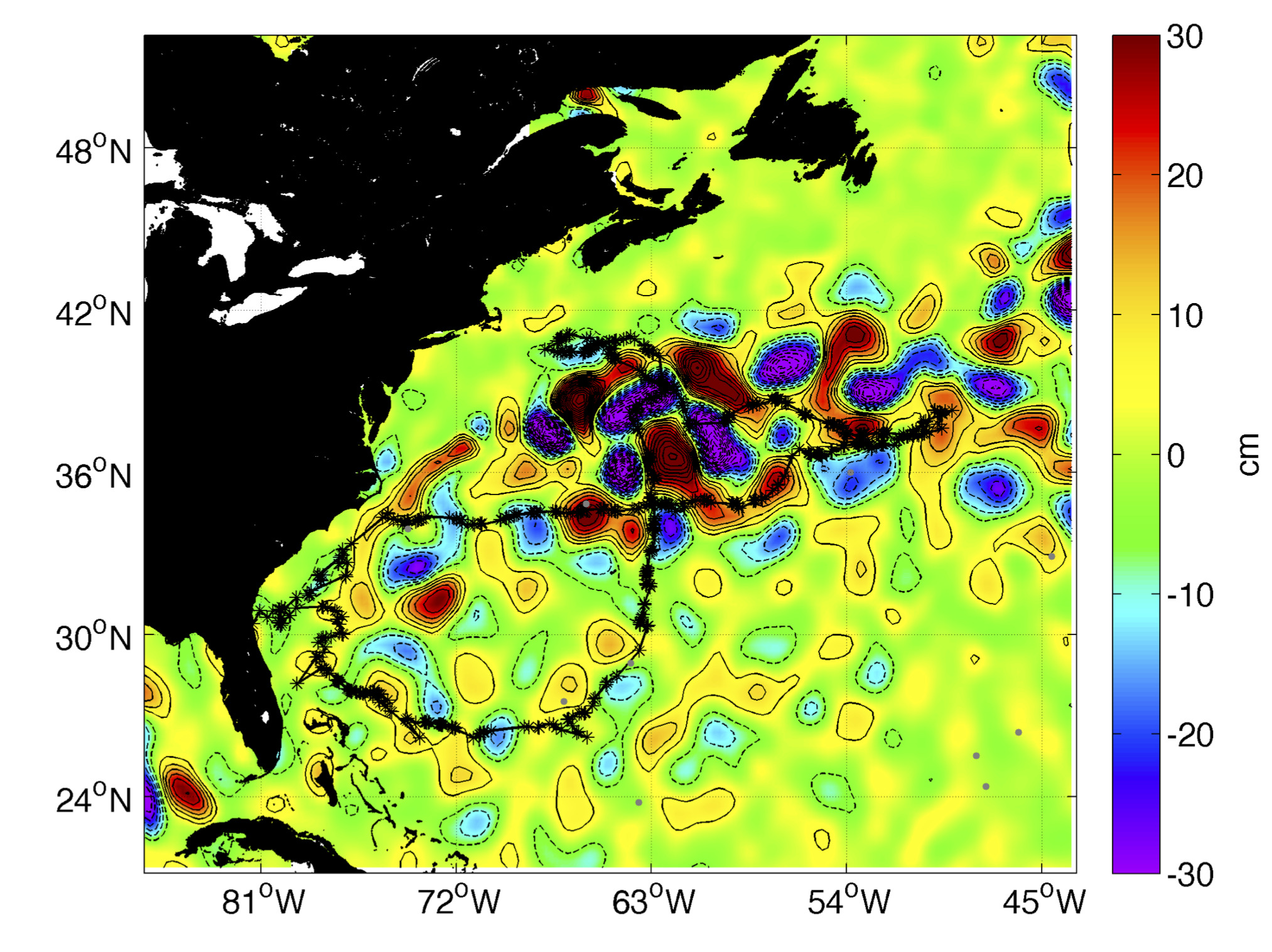 "One of the sharks' track overlaid on sea surface height anomalies from altimetry satellites (Credits Applied Physics Laboratory, University of Washington) (note that such maps can now be plotted for the last year using the ""Met-Ocean"" feature on Argos web)"