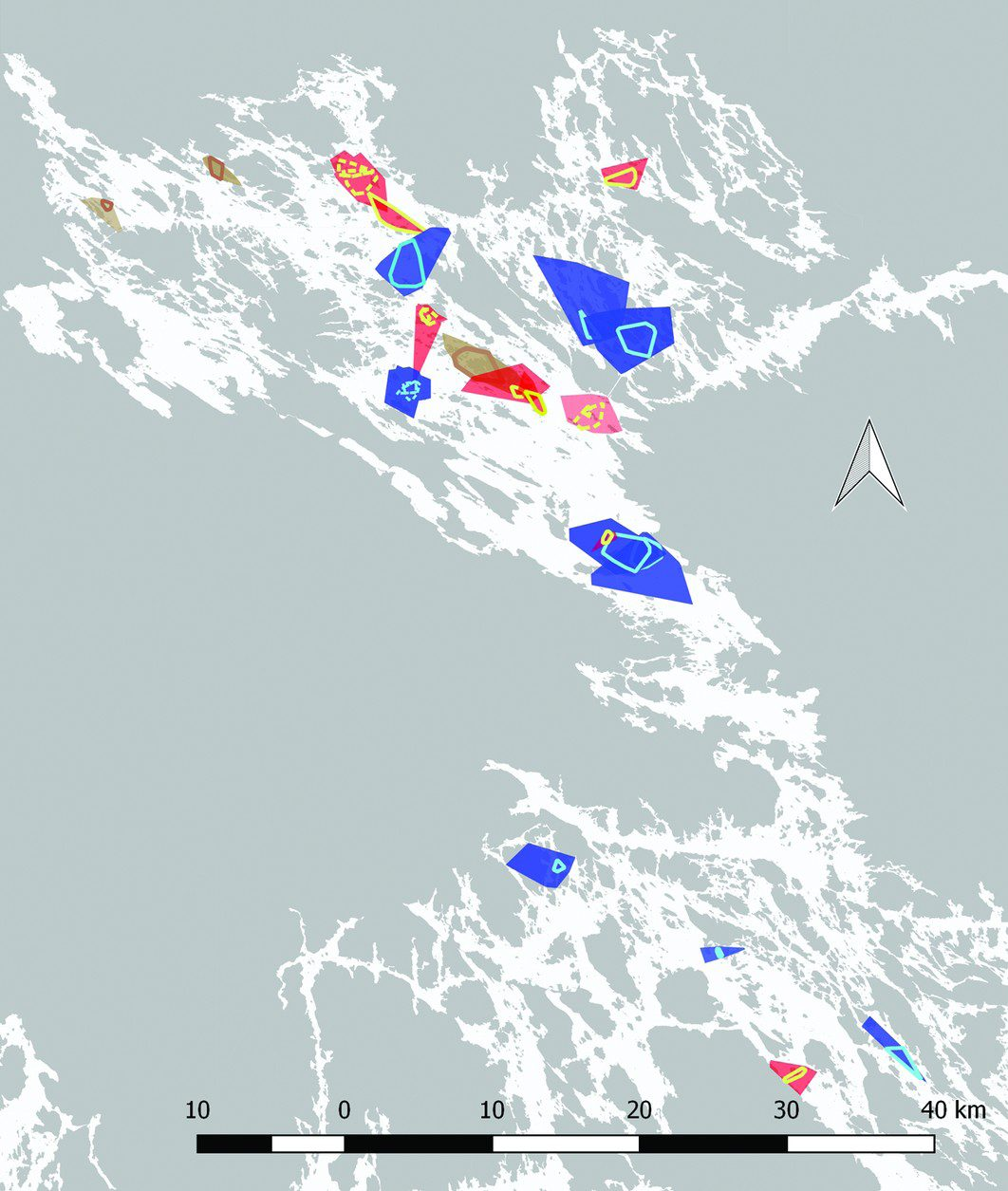 Winter home ranges of the tagged Saimaa ringed seals (n = 20; red = adult females, blue = adult males and brown = subadult polygons, MCP100%) and core areas (yellow = females, light blue = males and light brown = subadult line polygons, MCP50%). The core area lines of the seals with multiple interannual tracking seasons are dotted. © 2019 Niemi et al. (Credit University of Eastern Finland)