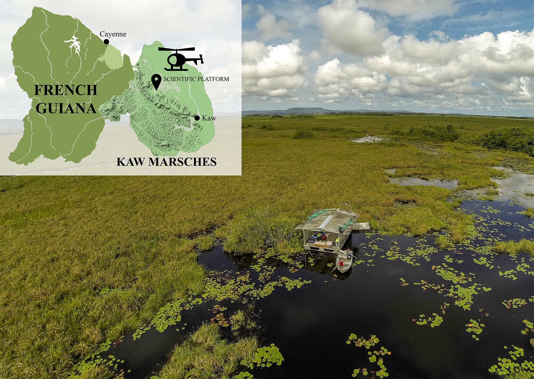 Situation map of Kaw marshes and Agami pond; photo of the Agami pond platform. (Credit S. Caut)