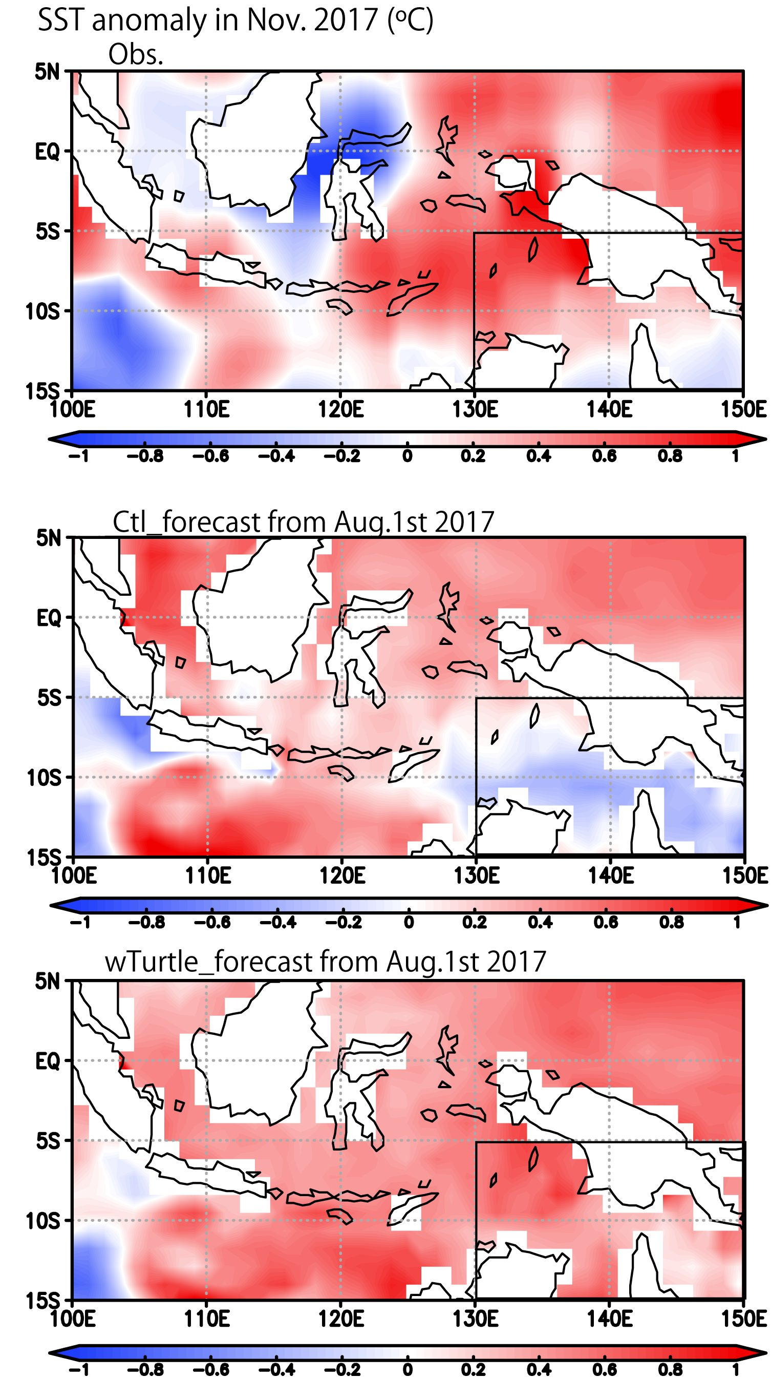Sea Surface Temperature anomalies with respect to the seasonal means. Top, the satellite observation on November 2017. Middle, output of the model assimilating the automated systems only; bottom output of the model assimilating also the turtles' data. The run with the turtles' data, higher by 0.2°C than the one without in the black-lined area at the South-East corner, is closer to the measurements done at that time (credit Japan Agency for Marine-Earth Science and Technology)