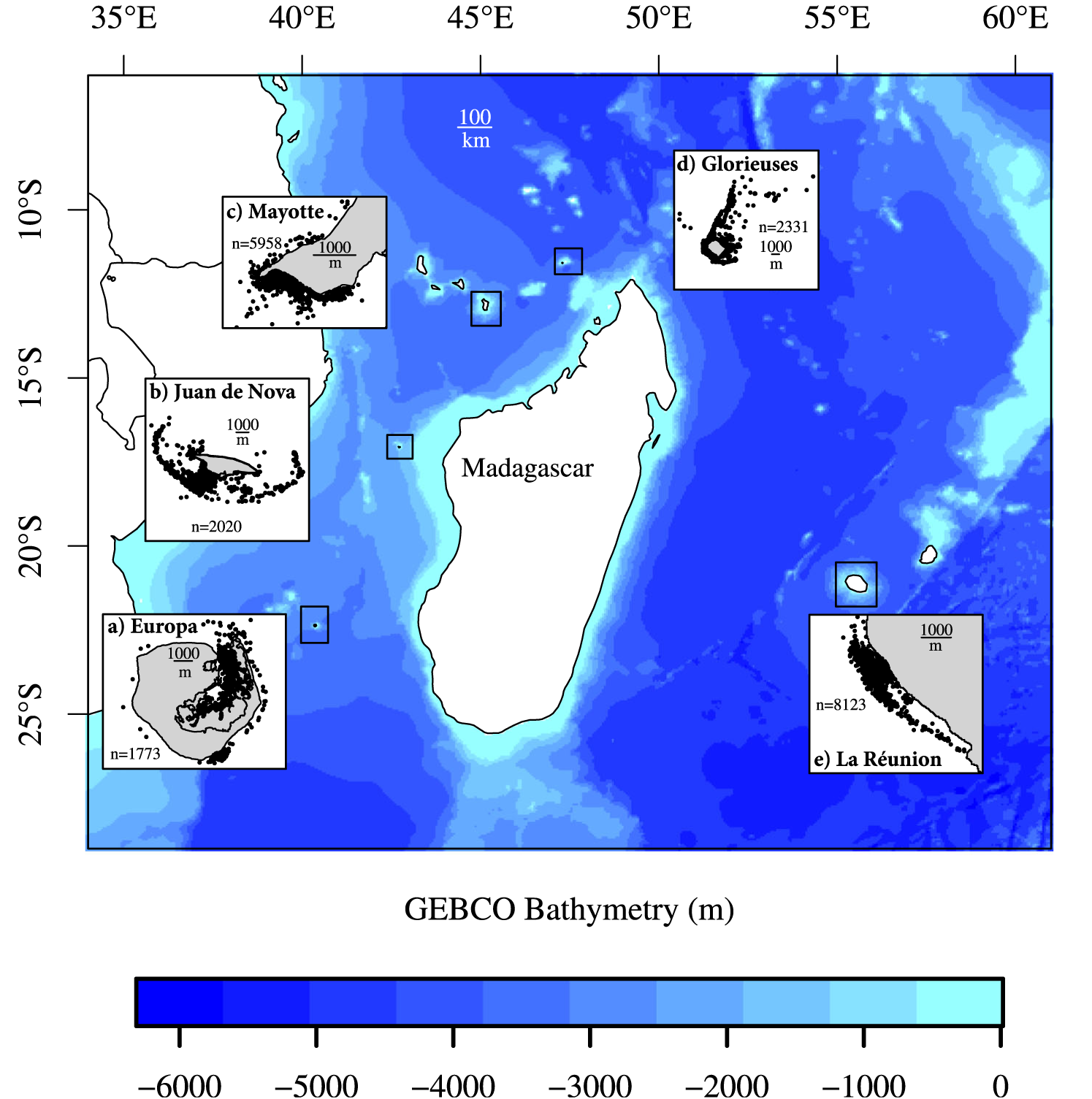 The five islands where the juvenile green turtles were tagged and satellite tracked. (from [Chambault et al, 2020])