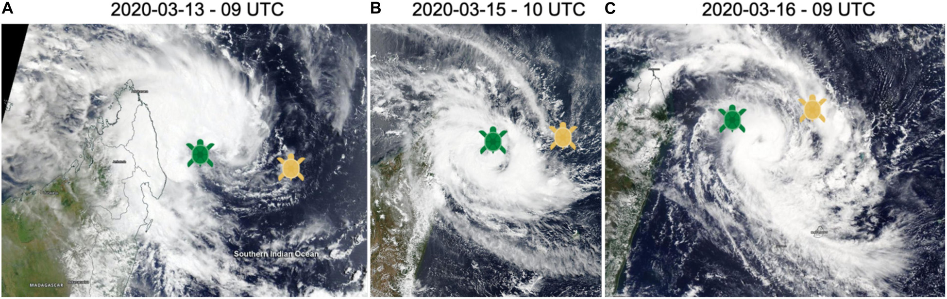 Location of Tom (yellow) and India (green) overlaid on optical images (Modis on Terra & Aqua, Nasa) showing tropical cyclones Herold initial phases in March 2020 (from [Bousquet et al.,2020])
