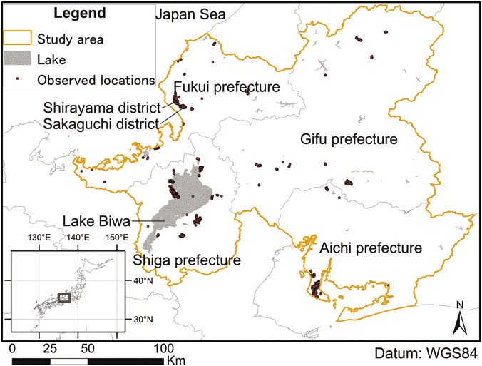 Locations of the four tagged oriental white storks during the two years of their monitoring (credits Keio University, from [Yamada et al., 2019])