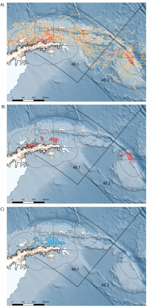 (A) At-sea distribution of mean time spent within 5 km grid cells of the 18 male Antarctic fur seals which stayed near the West Antarctic Peninsula. (B) and (C) overlap between the home range of male fur seals and the areas where the commercial krill fishery operate (B) continuous pumping and (C) traditional trawling fishing gear. From [Lowther et al., 2020]