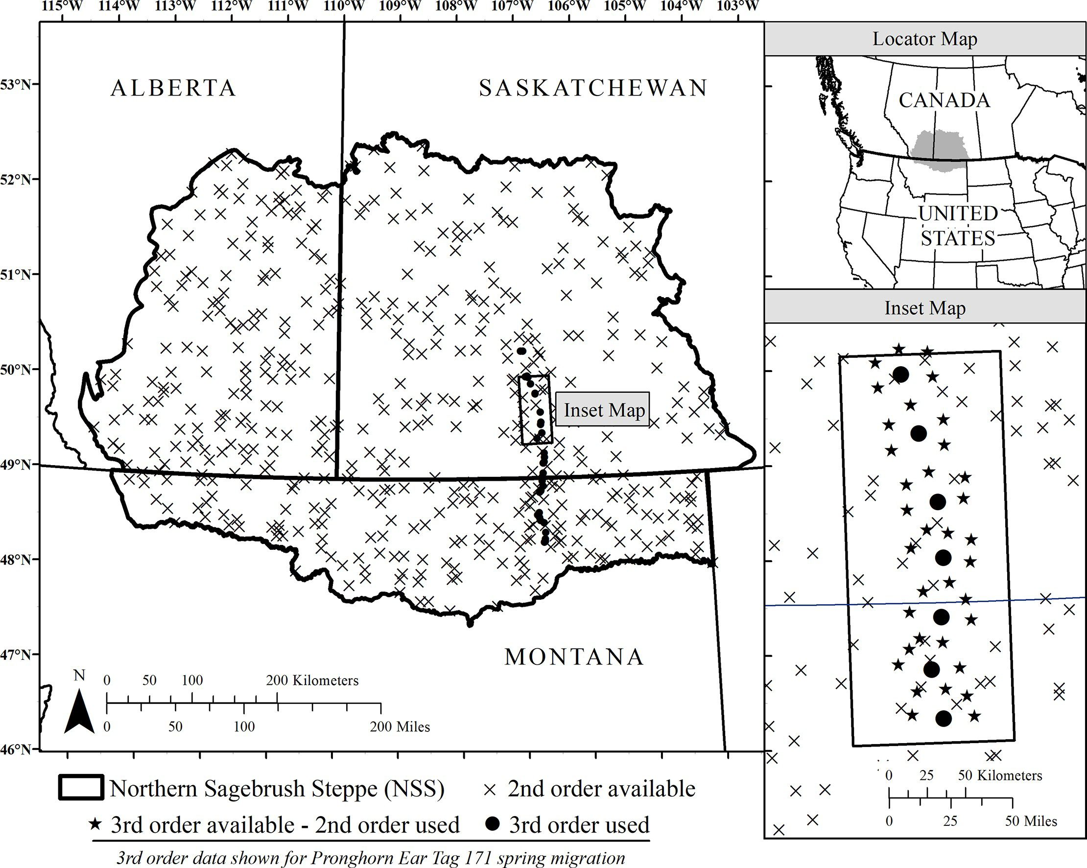 "An example of the hierarchically nested design for one individual during spring migration across the Northern Sagebrush Steppe. Pronghorn 'second-order' selection compares migratory neighborhoods to the entire study area whereas 'third-order' selection compares migratory pathway relocations to the migratory neighborhood. This original map was created using ArcGIS Desktop version 10.4.1 (ESRI, Inc., Redlands, California, USA) and includes vector data from Natural Earth (""Admin 1 –States, Provinces"") which complies with CC BY 4.0 license; available from https://protect-us.mimecast.com/s/pxvaCxkVBDILmvE2uAfAL2?domain=naturalearthdata.com (from [Jakes et al., 2020])"