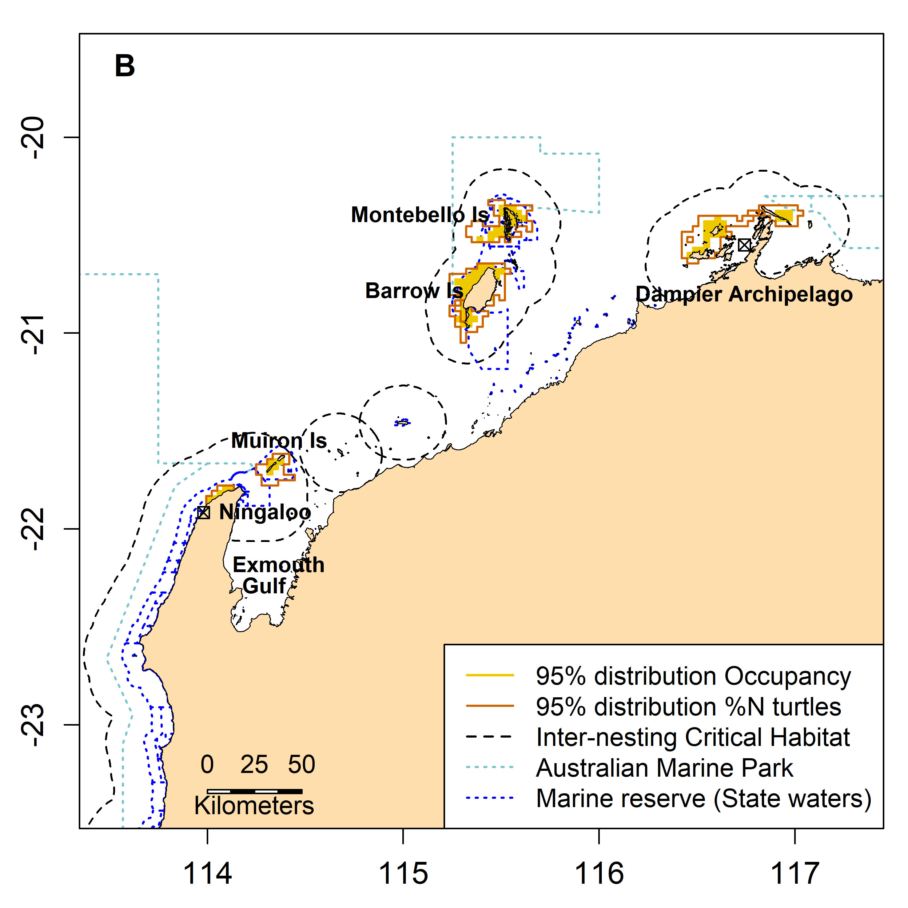 Inter-nesting, migration and foraging 95% distribution of green turtles in the Northwest of Australia