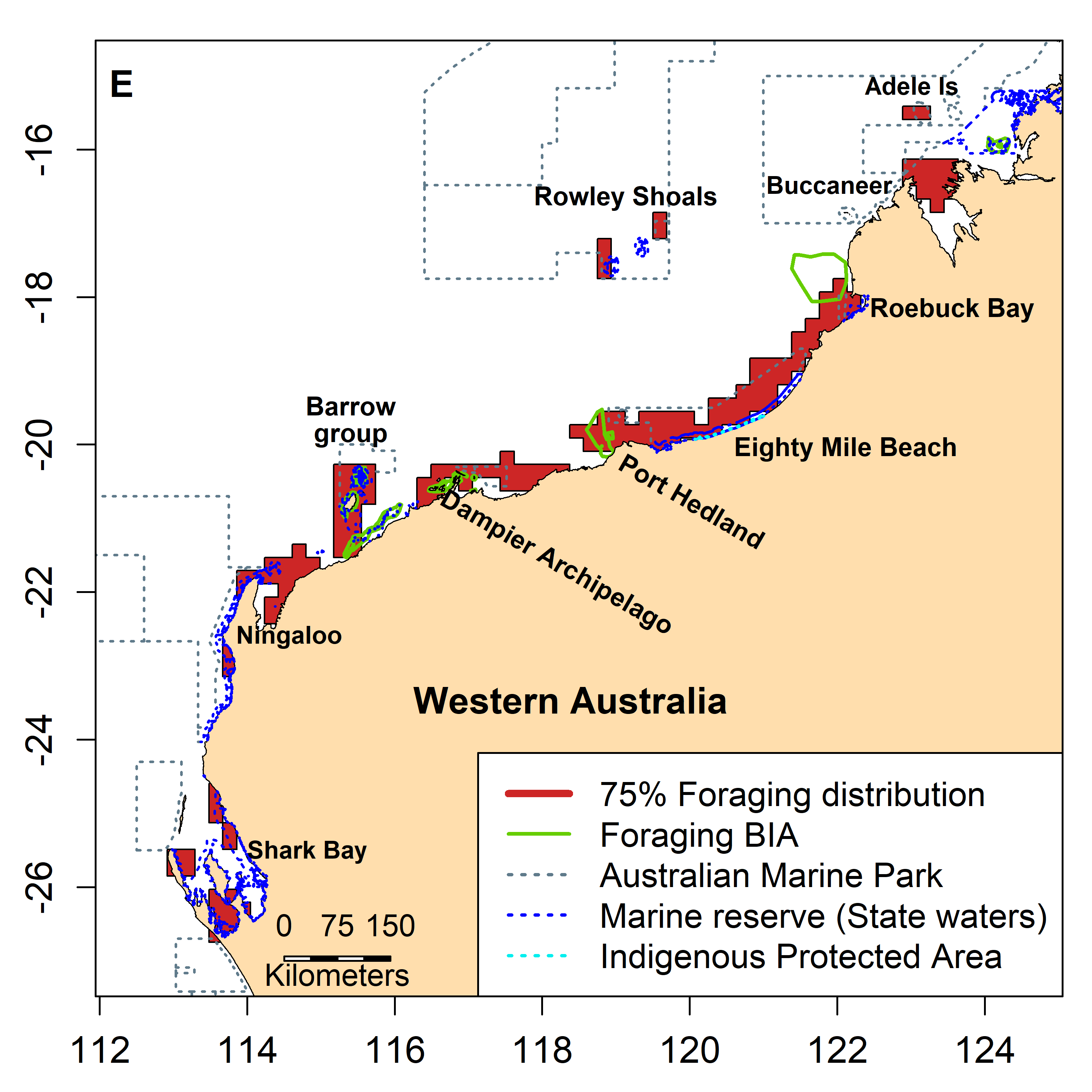 Inter-nesting, migration and foraging 75% distribution of green turtles in the Northwest of Australia